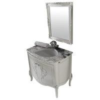 """Heritage 34"""" Silver Bathroom Vanity Set"""
