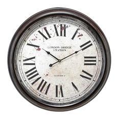 London Bridge Station Round Wall Clock Roman Numerals Decor 52102