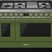 "Smeg Portofino Pro-Style 48"" Freestanding Dual Fuel Range, Olive Green"