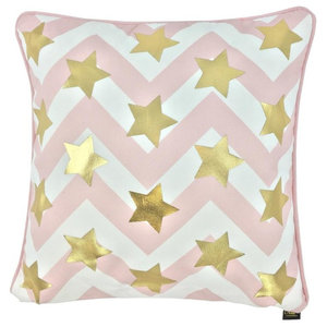 Starstruck Metallic Cushion Cover, Gold and Pink Stripes