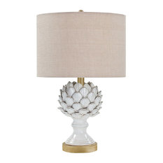 Leafy Artichoke Ceramic Table Lamp, White, Natural