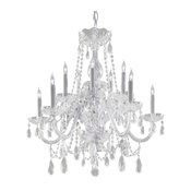 Traditional Crystal Ten Light Polished Chrome Up Chandelier