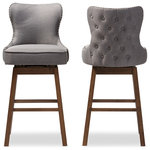 Baxton Studio - Gradisca Brown Wood and Tufted Swivel Barstool, Set of 2, Gray - Featuring modern and contemporary design, the Gradisca upholstered swivel barstool will be a perfect addition to your kitchen or bar counter. Constructed of solid rubber wood in dark walnut finishing, the barstool will be a nice addition for your warm and cozy kitchen and dining room. Button-tufting cut out backrest, couples with silver nail heads trim around the seat back adds a touch of modern and a little of glamour to this functional barstool. Fully upholstered in polyester fabric, the upholstered barstool is padded throughout for extra comfort. Sit and enjoy a glass of martini with your loved one after a long busy day for a little chit-chat, the Gradisca will instantly create a lovely ambience for the occasions. Made in Malaysia, the barstool requires assembly.