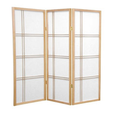 4' Tall Double Cross Shoji Screen, Natural, 3 Panels