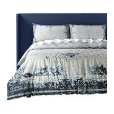 Bazaar Indigo Cotton Percale Printed Reversible Duvet Cover Set, King