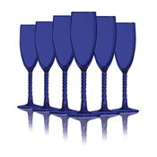 Cobalt Blue Colored Angelique Flute Glasses, 5.75 oz. Set of 6