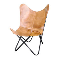 AmeriHome Natural Leather Butterfly Chair, Light Tan