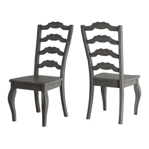 Arbor Hill French Ladder Back Wood Dining Chair, Set of 2, Antique Grey