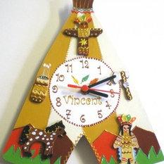 - Idée déco chambre enfant thème cowboys et indiens - Horloge Murale