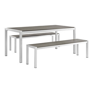 Shore 3-Piece Outdoor Aluminum Dining Set, Silver Gray