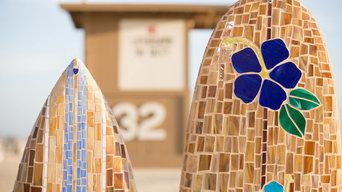 blue hibiscus mosaic longboard surfboard