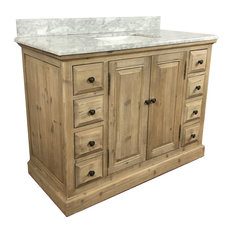 "Rowley Single-Sink Bathroom Vanity With Carrara White Marble Top, 48"""