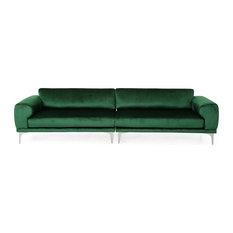 Crosby Modern Glam 4 Seater Velvet Sofa Emerald Silver