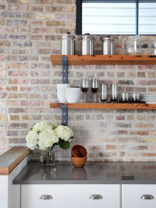 Exposed Brick Kitchen Backsplash In Chicago Inspires