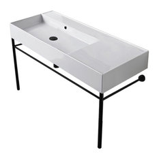 Ceramic Console Sink and Matte Black Stand, No Hole