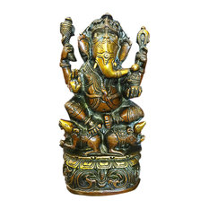"Mogul Interior - Ganesha Statue God Ganesh Idol Brass Statue Yoga Hindu Sculpture 9"" - Decorative Objects And Figurines"