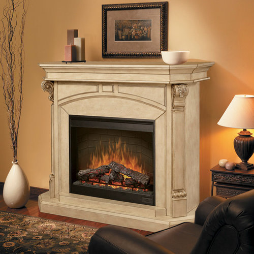High Quality Dimplex   Bromley Parchment Electric Fireplace Cabinet Mantel Package    SOP 495 P