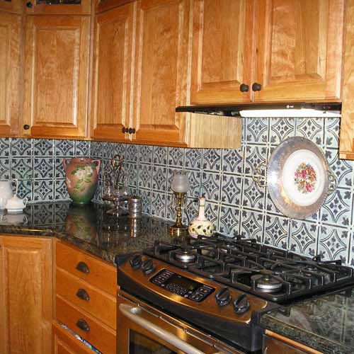 Handpainted Tin Tile Backsplash - Tile - Tin Backsplash - Kitchen Backsplashes