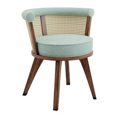 George Walnut and Linen Dining Chair