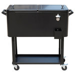 Outsunny - Outsunny 80 QT Rolling Ice Chest Portable Patio Party Drink Cooler Cart, Black - Bring the party with you wherever you go with this portable Outsunny rolling party cooler.