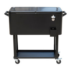 Aosom - Outsunny 80 QT Rolling Ice Chest Portable Patio Party Drink Cooler Cart, Black - Outdoor Serving Carts
