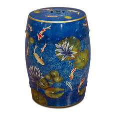Koi Pond Porcelain Garden Stool