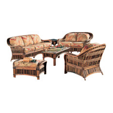 Congo 6-Piece Living Room Furniture Set Brown Aqua Fabric