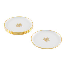 Arienne Signature Medallion Drink Coasters, White and 24-Karat Gold