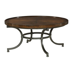 Hammary Barrow Round Cocktail Table With Mahogany Top and Metal Base