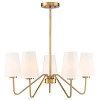 5-Light Chandelier, Natural Brass