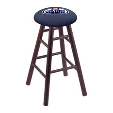 Oak Extra Tall Bar Stool Dark Cherry Finish With Edmonton Oilers Seat 36-inch