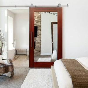 """Solid Mahogany Sliding Barn Door with Mirror Insert, 34""""x81"""", 1 Mirror, Right"""