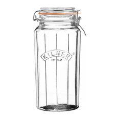 Kilner Facetted Clip Top Jar, Transparent, 1.8 L
