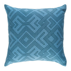 Bohemian, Global Sky Blue and Teal Accent Pillow, 18  x18