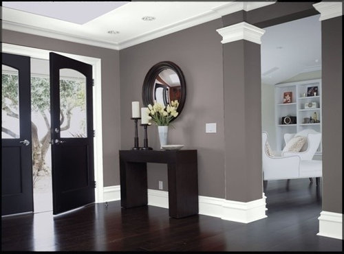 We Are Trying To Go With This Look Grey Walls Dark Floors White Trim What Fixtures Door S Should I Use Pro Cons