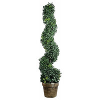 Artificial Plastic Boxwood Spiral Tree Plant, Green And Brown