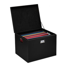 G.U.S. Decorative Office File and Portable Storage Box, Black Leatherette