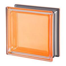 The Mendini Collection Glass Block, Orange Ambra