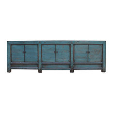 Chinese Distressed Teal Blue Lacquer Low Long TV Console Cabinet Hcs5373