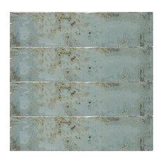 Grunge Rectangular Tiles, Acqua, Set of 20