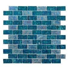 "Marina Iridescent 1""x2"" Glass Mosaic Tile, Blue"