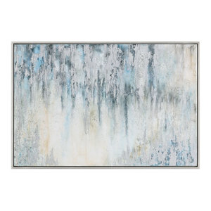 "Oversize Gray Blue White Abstract Painting, 61"" Silver Modern Light"