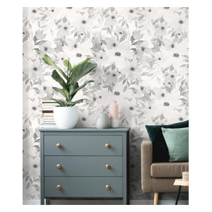 Black Watercolor Floral Peel Stick Wallpaper Contemporary Wallpaper By York Wallcoverings Inc