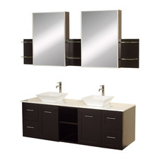 "60"" Double Bathroom Vanity With White Man-Made Stone Top, Mirror, Sink"