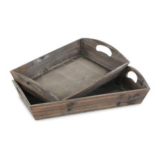 Secret Garden Wooden Serving Trays, Set of 2