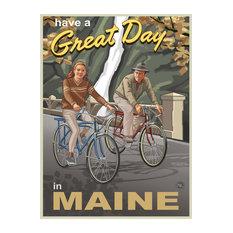 """Paul A. Lanquist Maine Couple Gorge Bikers Art Print, 9""""x12"""""""