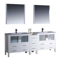 "84"" Double Sink Bathroom Vanity, White, Integrated White Ceramic Sink, FFT1030CH"