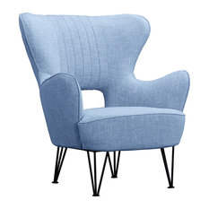 Sofamania   Mid Century Shelter Style Linen Fabric Armchair, Blue    Armchairs And Accent Chairs