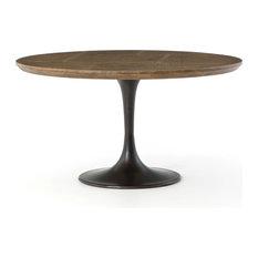 55-inch L Jacinto Dining Table Iron Oak Brass Rustic Black Light Burnt Bright Clad