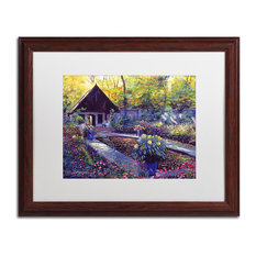 "Glover 'Blue Garden Impression' Art, Wood Frame, 16""x20"", White Matte"
